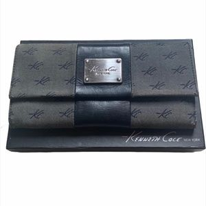 Kenneth Cole Grey Logo Long Snap Button Wallet